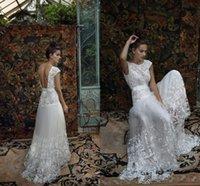 Белый Bohemian Потрясающие Кружева Вышивка Лихи Hod Свадебные платья 2016 Экипаж Полная длина втулки крышки Свадебное платье свадебное платье
