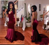 Темно-красный русалка платья выпускного вечера сексуальный Backless бархата черноты способа девушки аравийской Формальное выпускного вечера платья халата де soirée