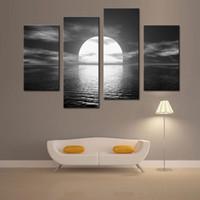 4 фото Комбинация Евро Стиль над морем Луна сияет Морской пейзаж маслом на холсте мирных стены искусства Холст