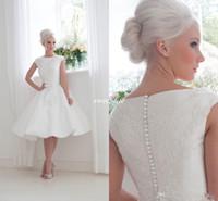 Fabulous 1950-х годов Вдохновленный Короткие свадебные платья 2016 Дом из Mooshki Бато декольте блокированного рукава аппликация атласная Люкс Коллекция Gowns