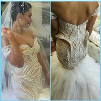 Новые Sexy Русалка труба цвета слоновой кости плеча Pearls Тюль Дешевые Корсет Свадебные платья Свадебные платья 2017 года