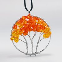hot sales natural crystal pendant tree of life silver wire w...
