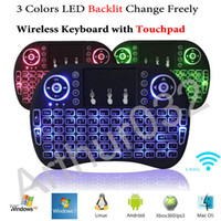 Colorido Backlight i8 + Mini Teclado Sem fio Gaming Teclados Air Mouse Controle Remoto para PC Pad Google Andriod TV Box Xbox360 PS3 OTG