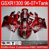 Red silvery 8gifts For SUZUKI Hayabusa GSXR1300 96 97 98 99 ...