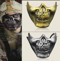 Half face skeleton warriors Halloween masks protective Skull...
