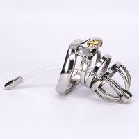 Stainless Steel Male Chastity Belt Penis Restraint Locking C...