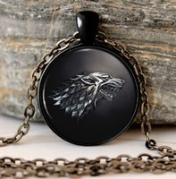 Game of Thrones Necklace Pendant House of Stark Black Wolf J...