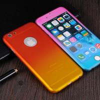 Pour iPhone 7 6 6s Plus 5 SE 360 Degrees Phone Cases Full Body Hybrides écran en verre trempé de téléphone Cover Protector Gradient Couleur