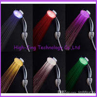 RGB automatic color changing lighted bathroom LED shower hea...