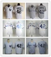 Mens New York Yankees #42 Mariano Rivera Gray White #2 Derek...