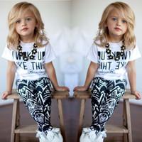 New Baby Girls kids Stripe summer clothes set I Woke Up Like...