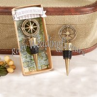 Free Shipment Nautical Theme Gold Compass Wine Stopper Favor...