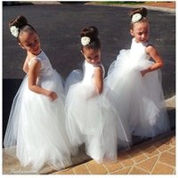 Pretty White Tulle Open Back Lace Appliques Flower Girl Dres...