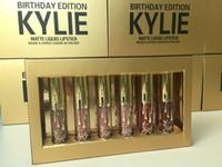 48pcs = 8 коробок Дженнер Limited День рождения издание Кайли Матовый жидкая помада 1lot = 6pcs мини-золотой комплект Kylie для губ