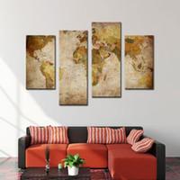 Amosi Art-4 Pieces Холст картины Настенная живопись Ретро Устаревшая карта мира Абстрактные картины для домашнего декора с деревянным обрамлении