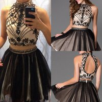 2016 Two Pieces Homecoming Dresses Black Sexy High Neck Crys...
