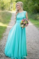 Turquoise Bridesmaid Dresses 2017 Scoop Neckline Chiffon Flo...