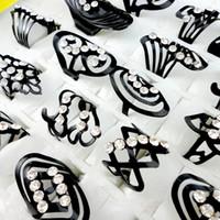 Alliage 20pcs Mix Style de zinc noir Bague anneau d'orteil réglable pour Femmes Hommes Bagues de bijoux en gros lots LR477