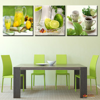 3 Панель Large полотнами Современные печатные Фрукты Лимонный живопись Картина на холсте перед обеими ландшафта декора для гостиной (без рамки)