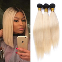 Two Tone 1B 613 Dark Root Ombre Straight Human Hair Weaving ...
