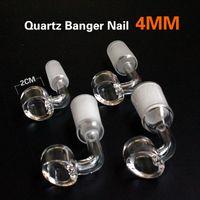 100% 4MM réel Quartz Banger 14mm 18mm Quartz Domeless ongles Femme Homme 90 Degrees Quartz Banger Nail avec pot de cire