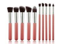 2016 precio de descuento Kabuki cepillos del maquillaje 10pcs / set cepillo cosmético profesional del kit de nylon de madera de la manija de pelo producto de moda