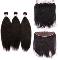 8A Virgin Indian Kinky Straight Bundles With Lace Frontal Cl...