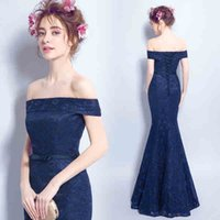 Elegant Navy Aso Ebi Evening Dresses Mermaid Cap Sleeves Lon...