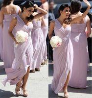 One shoulder A Line Bridesmaid Dresses Floor length chiffon ...