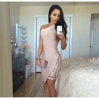 sexy Women dress Sleeveless one- shoulder hollow out khaki bl...