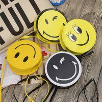 Fashion Emoji Shoulder Bag Personalized Smiley Face Round La...