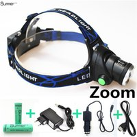 Rechargeable headlights Stretch Fishing head light 3800LM Zo...
