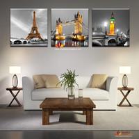 3 Панель горячей продажи Современный абстрактный Париж Effiel башня Картина Картина Строительство города Мост Пейзаж Картина Холст стены искусства без рамки