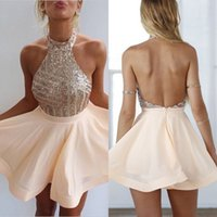 Sexy A- line Halter Chiffon Sequins Short Homecoming Dress Co...