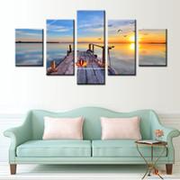 5 Панель Большой холсте Дешевые Современные Морской пейзаж Картина маслом Главная Decoracion Стена Картины для гостиной Печать холст