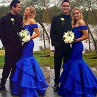 Арабский Royal Blue Mermaid 2K17 платья выпускного вечера Дубай Off Плечи Формальные Вечерние платья Бальные платья Backless ярусах оборками Приемные