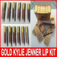 Золотой Дженнер Lipkit Новейшие 12 цветов Кайли Косметика Matte Lipstick 1шт + 1шт Lipliner Блеск для губ Lip Kit День рождения Limited Edition