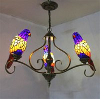 Parrots Tiffany Pendant Lamps Stained Glass Chandelier lamps...