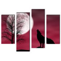 4 штуки волк в темную ночь с лунным красным фоном Печать холст картины животных для дома Современный декор с деревянными подставил