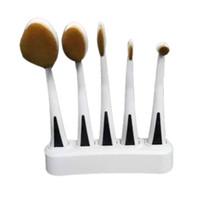 5PC Set Tooth Brush Shape Oval Makeup Brush Set Professional...