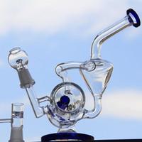 Bong! 2016 Nouveau bong de verre Nouveau double recycler Water Pipe plate-forme pétrolière Bleu vente chaude libre de l'expédition deux fonctionnalités 14.4mm joint