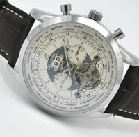 Preço com desconto de luxo Marca Masculino automático de relógio mecânico World Map clássico Designer Tourbillon Relógios Men Hombre 45MM