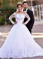 Длинные рукава арабский Дубай Свадебные платья с аппликацией кружева с плеча выполненное на заказ Поезд стреловидности Свадебные платья Платье Де Noiva 2016 года