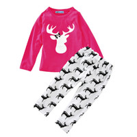 spring autumn baby girls clothing sets cartoon deer head t s...
