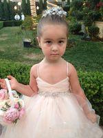 2016 Платья Pageant платья для девочек Спагетти рукавов девушки цветка белого шампанского Дети бальные платья Sash Бисероплетение Пояс девушки партии