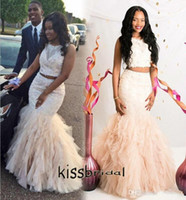2016 Two Pieces Mermaid Prom Dresses Custom Champagne Jewel ...