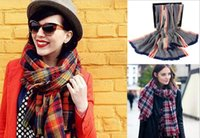 Wool Spinning Scarf check Long Neckerchief Scarves women Pas...
