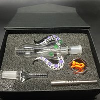 Colorful Nectar Collector 4.0 Kit 14mm Joint Ox Corne Shap Miel Paille Concentré Pipe en verre avec du titane Quartz Nails DHL gratuit
