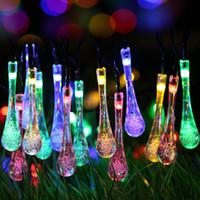 Solar Outdoor String Lights, 20ft 30 LED Water Drop Solar St...