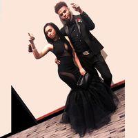 Сексуальная черная девушка платья выпускного вечера 2k16 Пары Мода Русалка Tiers Тюль сращивания Длинные вечерние платья Формальные спандекс Red Carpet мантий BA2521